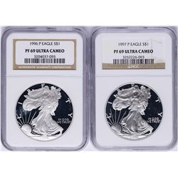 Lot of 1996-P & 1997-P $1 American Silver Eagle Proof Coins NGC PF69 Ultra Cameo