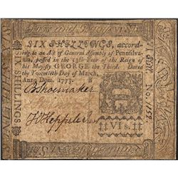 March 20, 1773 Pennsylvania Six Shillings Colonial Currency Note