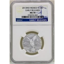 2013MO Mexico 1/4 Onza Libertad Silver Coin NGC MS70 Early Releases