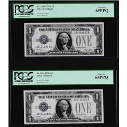 (2) Consecutive 1928A $1 Funnyback Silver Certificate Notes PCGS Gem New 65PPQ