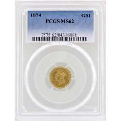 1874 $1 Indian Princess Head Gold Dollar Coin PCGS MS62