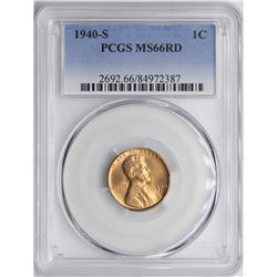 1940-S Lincoln Wheat Cent Coin PCGS MS66RD