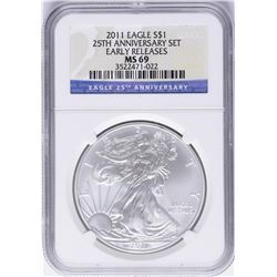 2011-W $1 American Silver Eagle Coin NGC MS69 Early Releases
