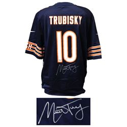 Mitchell Trubisky Signed Chicago Bears Navy Nike Football Jersey