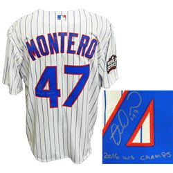 Miguel Montero Signed Chicago Cubs White Pinstripe 2016 World Series Patch Jersey w/2016 WS Champs