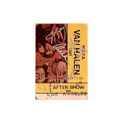 Van Halen Signed 1981 LA Tour Backstage Pass