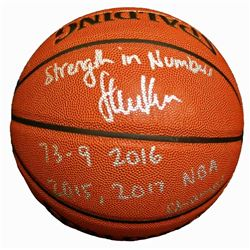 Steve Kerr Signed Spalding NBA Indoor/Outdoor Basketball w/Strength In Numbers, 73-9 2016, 2015 & 20