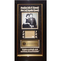 John F. Kennedy and Jacquline Kennedy Framed Signature Collage