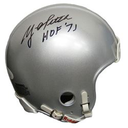 Y.A. Tittle Signed 49ers Throwback 1950's Style Silver Riddell Mini Helmet w/HOF 71