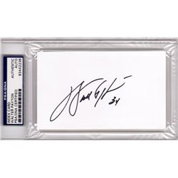 Walter Payton Signed White Index Card Cut  - PSA Encapsulated