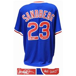 Ryne Sandberg Signed Chicago Cubs Blue Throwback Cooperstown Collection Jersey w/HOF 2005