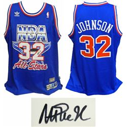 Magic Johnson Signed Western Conference 1992 All Star Game Official Adidas Blue Swingman Jersey
