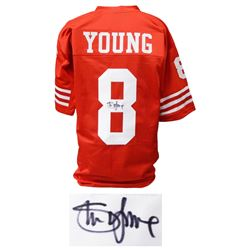 Steve Young Signed Red Throwback Custom Football Jersey (JSA)