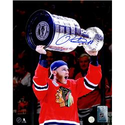 Patrick Kane Signed Chicago Blackhawks 2015 Stanley Cup Trophy 8x10 Photo