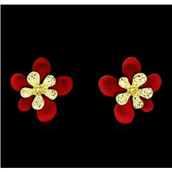 Flower Hand Painted Earrings - Gold Plated