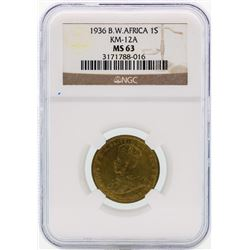 1936 BW Africa 1 Shilling Coin NGC MS63