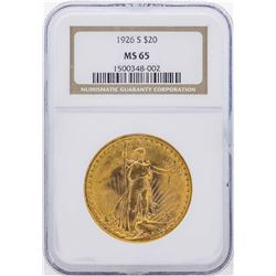 1926-S $20 St. Gaudens Double Eagle Gold Coin NGC MS65