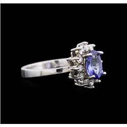 14KT White Gold 1.06 ctw Tanzanite and Diamond Ring