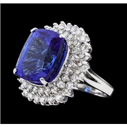 18.07 ctw Tanzanite and Diamond Ring - 14KT White Gold