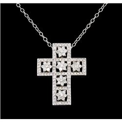 1.83 ctw Diamond Cross Pendant With Chain - 14KT White Gold