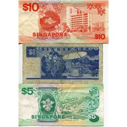 SINGAPORE 3 PAPER CURRENCY $1, $5 & $10