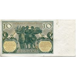 POLAND OLD PAPER MONEY 10 ZLOTY ISSUED 1929