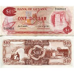 GUYANA PAPER MONEY $1 & $10