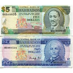 BARBADOS $2 & $5 BANK NOTES