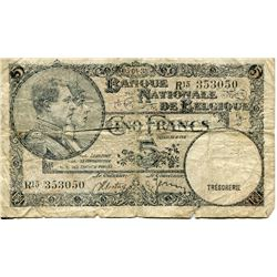 BELGIUM 5 FRANC BANK NOTE 1920s