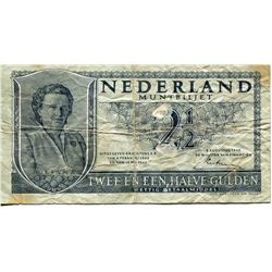 NETHERLANDS 2½ GUILDER ISSUED DURING WWII 1943