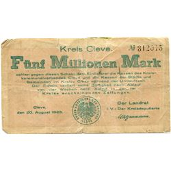 GERMANY 5 MILLION MARK NOTE ISSUED 1923