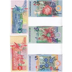 SURINAME 5 NOTES VALUE OF 55 GULDENS
