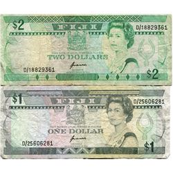 FIJI $1 & $2 BANK NOTES