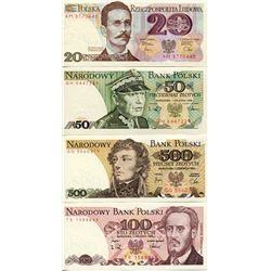 POLAND 4 BANK NOTES KNOWN AS ZLOTYS ISSUED 1980s