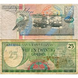 SURINAME 2 OLDER BANK NOTES 25 & 1000 GULDENS