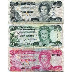 BAHAMAS 3 BANK NOTES $½, $1, $3