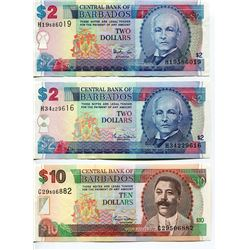 BARBADOS 2 TYPES $2 & ONE $1 BANK NOTES