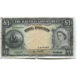 BAHAMAS QUEEN ELIZABETH II, LOVELY COPY OF 1 POUND NOTE