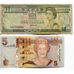 FIJI OLD $1 & NEW $5 BANK NOTES