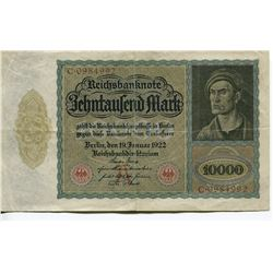 GERMANY INFLATION CURRENCY 10,000 MARK NOTES ISSUED 1922