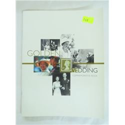 GOLDEN WEDDING COMMEMORATIVE BOOK, ISSUED BY BRITISH POST OFFICE, 2 SETS STAMPS/POST CARDS