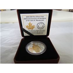 CANADA 2015 PROOF $10 200TH ANNIV OF BIRTH OF JOHN A MACDONALD COIN