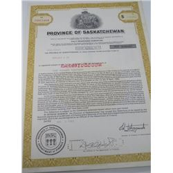 PROVINCE OF SASKATCHEWAN DEBENTURE FOR $100,000 PAID TO GERLACH & CO. 1982