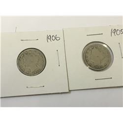 1905 & 1906 USA Liberty Head Nickel