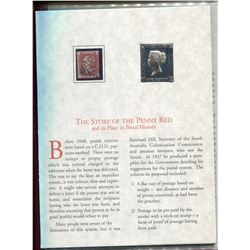 BOOKLET ON GR BRITAIN RED PENNY, COPY OF STAMP, REPLICA OF GOLD FOIL STAMP, HISTORY AUTHENTICITY SIG
