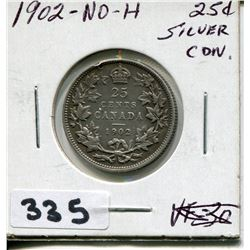 1902 CNDN SILVER 25 CENT PC