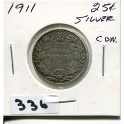 1911 CNDN SILVER 25 CENT PC