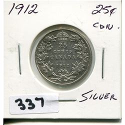 1912 CNDN SILVER 25 CENT PC