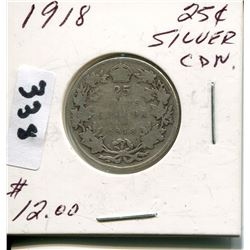 1918 CNDN SILVER 25 CENT PC