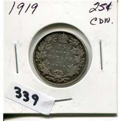 1919 CNDN SILVER 25 CENT PC